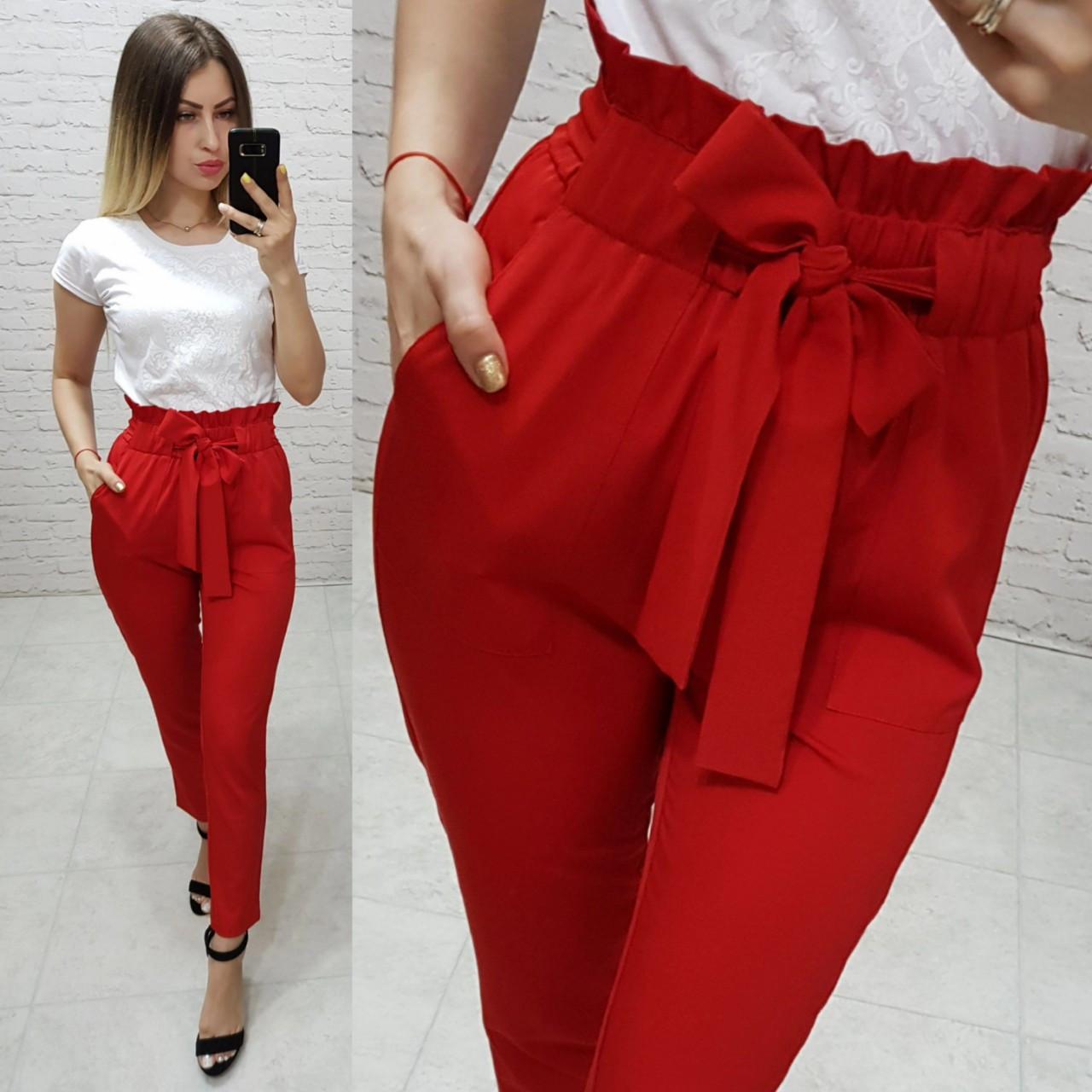 Женские брюки с высокой посадкой и рюшами на поясе, арт.168, цвет красный