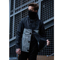 """Не промокаемая мужская куртка-парка """"Hawk jacket"""" весна/осень серая с черным"""