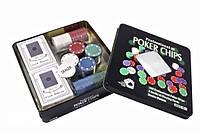 Набор для игры в покер в оловянном кейсе, 100 фишек., фото 1