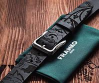 Ремень мужской кожаный Квіти козацькі 40мм черный   Kozak flowers big black belt   Ручная работа
