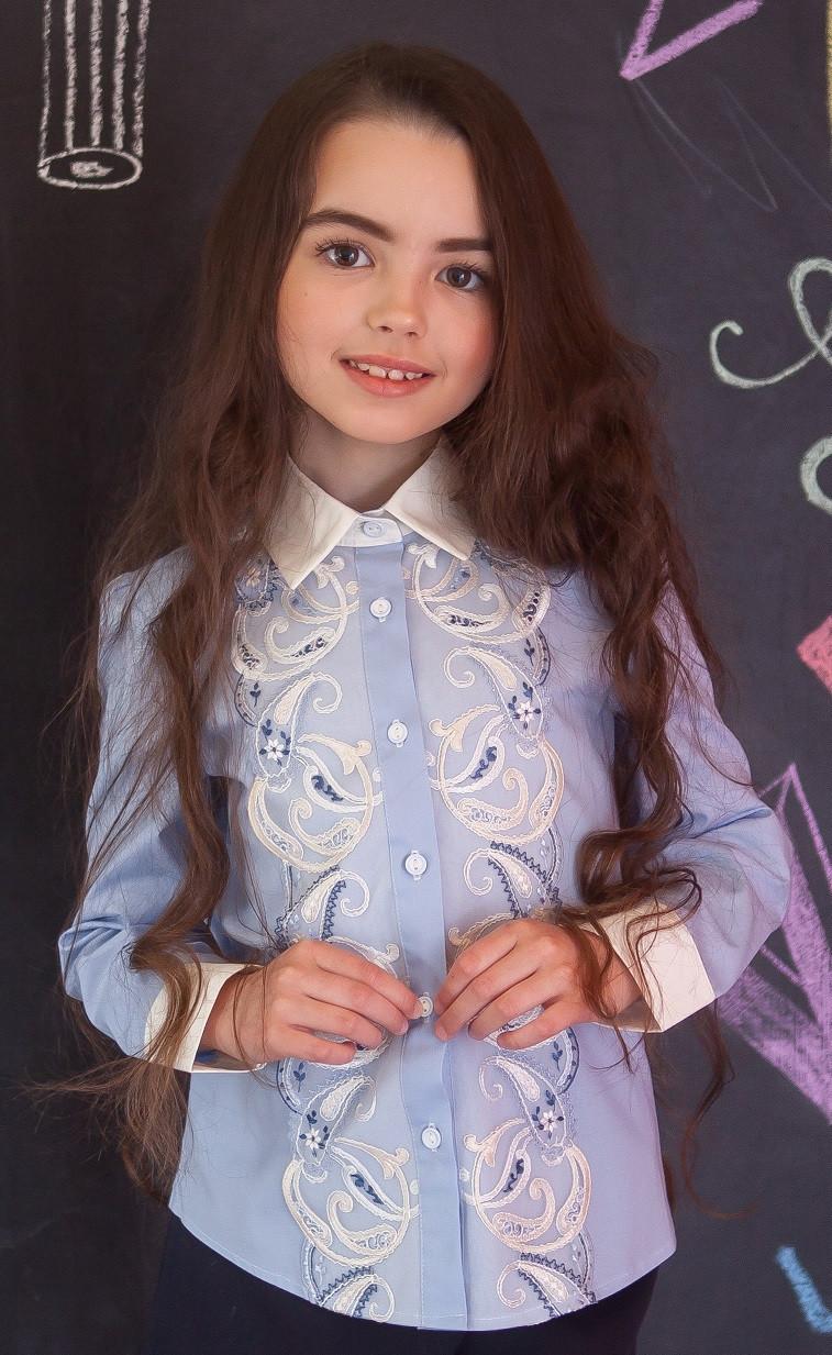Блузка рубашка Свит блуз мод. 2077 голубой р.152