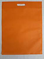 Эко-сумка из спанбонда с прорезными ручками плоская 34*46 см Одетекс Оранжевый