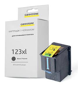 Картридж совместимый HP 123 XL Black (F6V19AE) чёрный, увеличенный ресурс, 480 копий, аналог от Gravitone