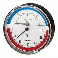 Термоманометр TRP 63 VI  4bar / 120C аксиальный с обратным клапаном Cewal  (Италия)