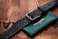 Ремень кожаный мужской черный Franko Патерн 40мм    UA pattern big black belt   Ручная работа