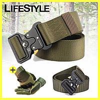 Тактический нейлоновый ремень Tactical Belt + Тактические перчатки Oakley в Подарок