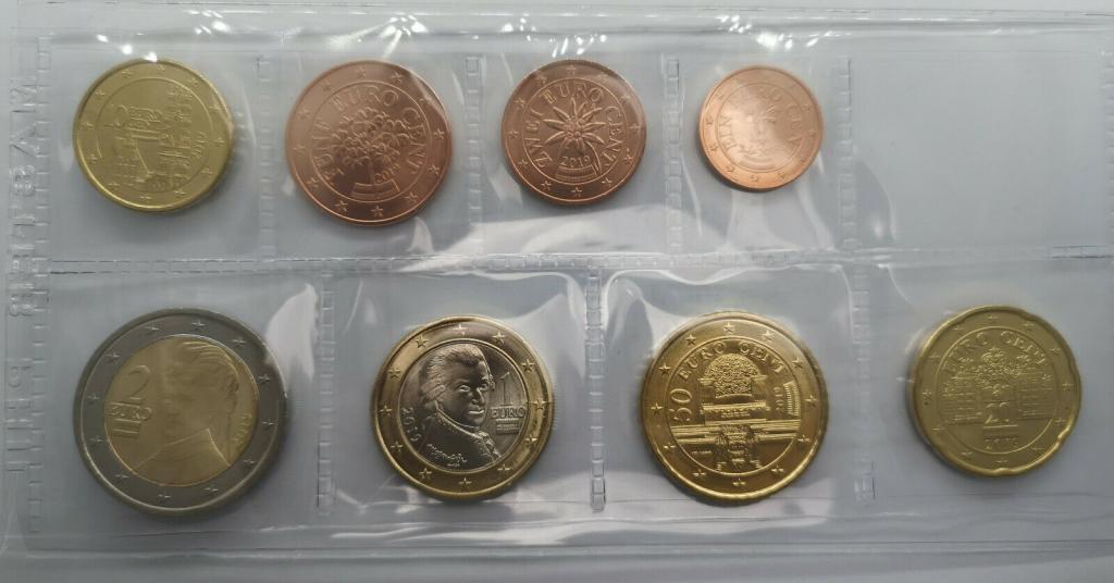 Австрия , набор евро монет 2019 г , UNC.