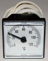 Термометр квадратный 45х45 мм, 0-120°C, с выносным датчиком 1м, LT151