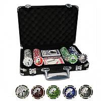 Набор для покера (200 фишек С НОМИНАЛОМ, 2 колоды карт, 5 кубиков), в чемодане. 31-21-7,5 см