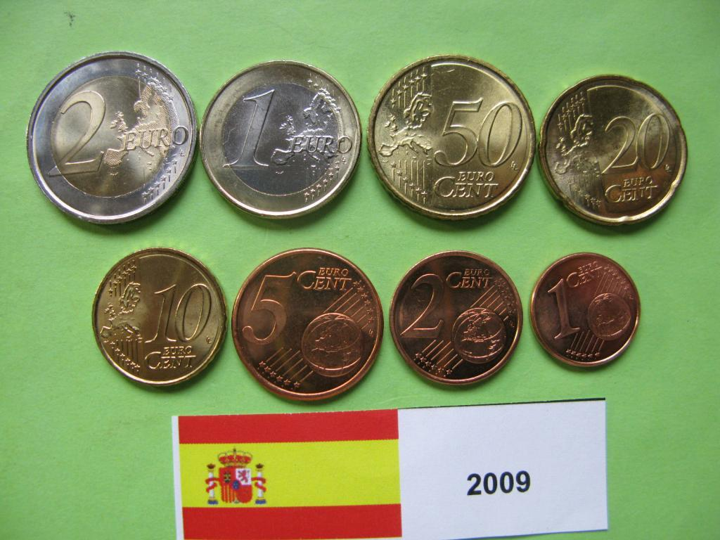 Испания , набор евро монет 2009 г . UNC.