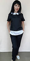 Медицинский женский костюм Ника цветной с отделкой короткий рукав 40, черный