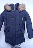 Зимова підліткова куртка,темно-синя, 38-44, фото 10