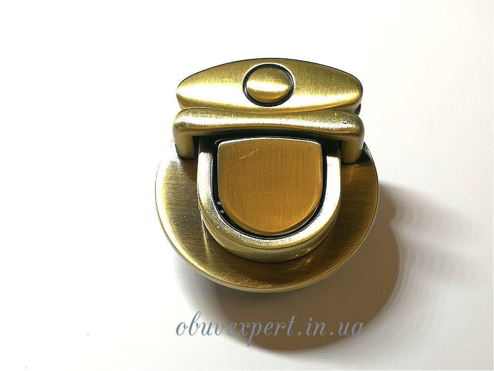 Замок сумочный, портфельный клавишный 46*49 мм  Тертый антик