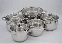 Набор кастрюль из нержавеющей стали 10 предметов Benson BN-207 (2,1 л, 2,1 л, 2,9 л, 3,9 л, 6,5 л) | кастрюля, фото 1