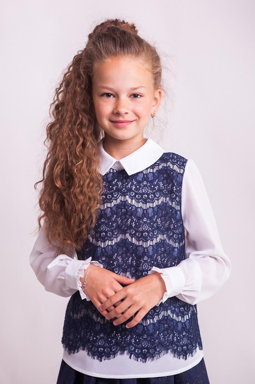 Блузка Свит блуз мод. 8005  с синим кружевом р.146