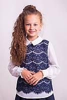 Блузка Свит блуз мод. 8005  с синим кружевом р.146, фото 1