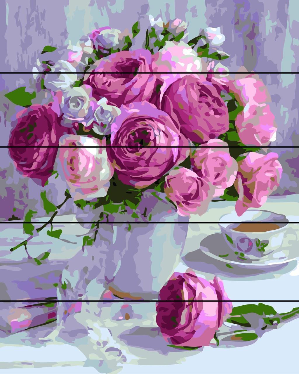 Картина-раскраска по номерам на дереве Очаровательный букет Rainbow Art RA-AS0126 40 х 50 см