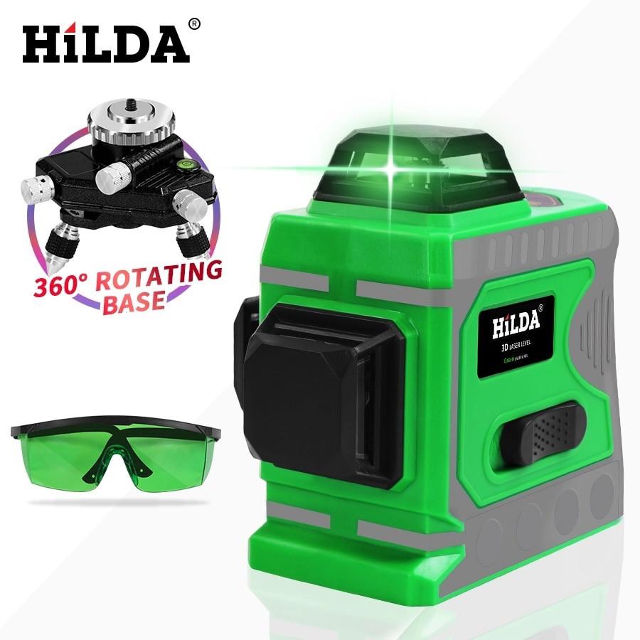 Лазерный уровень Hilda 3D 12 линий ☀ ЗЕЛЕНЫЙ ЛУЧ ☀
