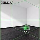 Лазерный уровень Hilda 3D 12 линий ☀ ЗЕЛЕНЫЙ ЛУЧ ☀, фото 3