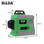 Лазерный уровень Hilda 3D 12 линий ☀ ЗЕЛЕНЫЙ ЛУЧ ☀, фото 5