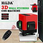 Лазерный уровень для стяжки пола Hilda 3D 12 линий ➤ ЗЕЛЕНЫЙ ЛУЧ + ПУЛЬТ, фото 6