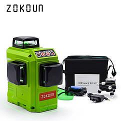♦ ЗЕЛЕНЫЙ ЛУЧ ♦ Лазерный уровень Zokoun 3D 12 линий