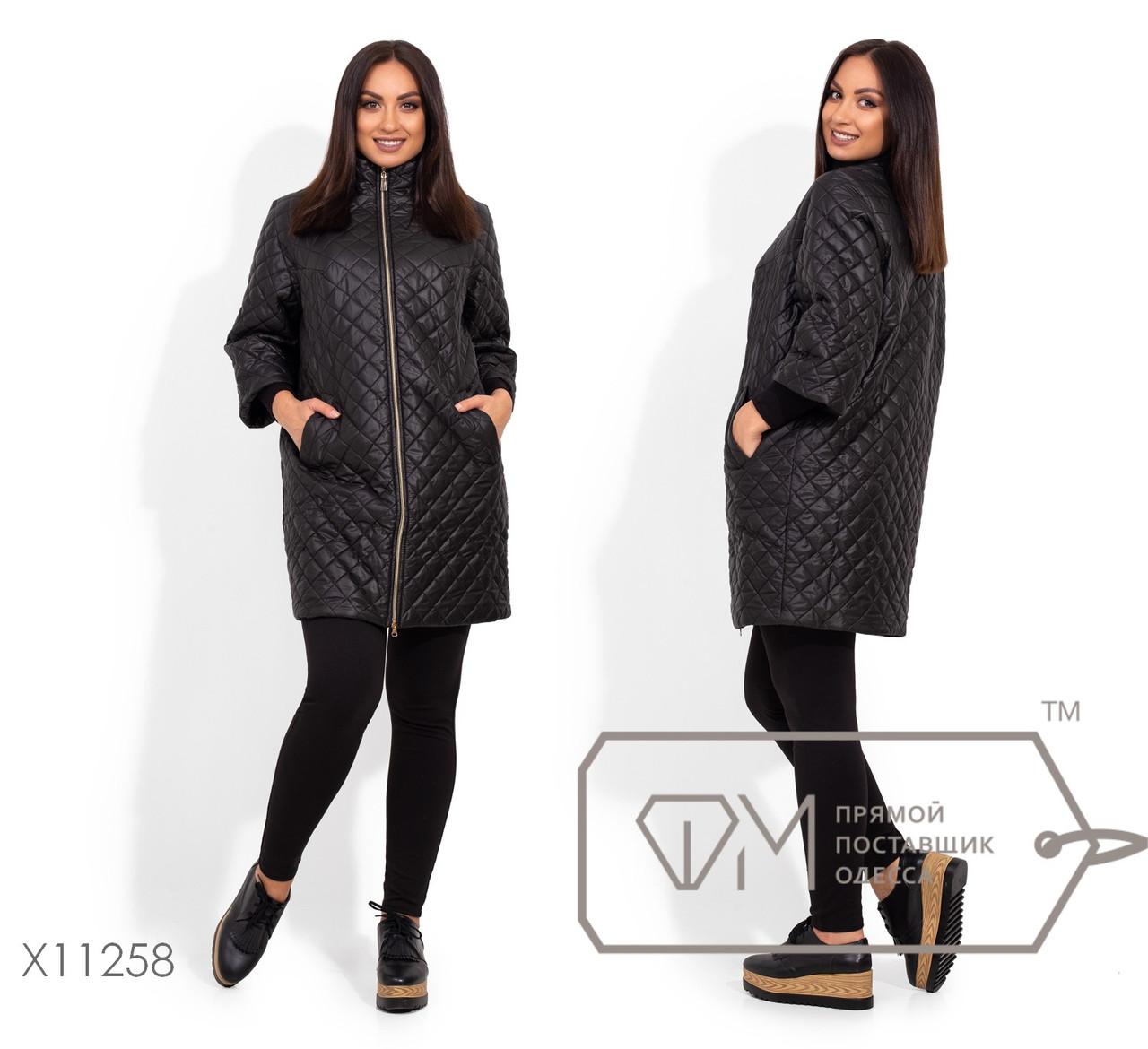 Стеганная черная куртка женская в больших размерах  1blr2066