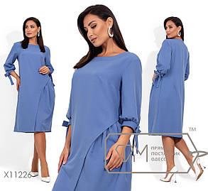 Платье - трапеция в больших размерах длиной до колен и рукавом - фонариком 1blr2078