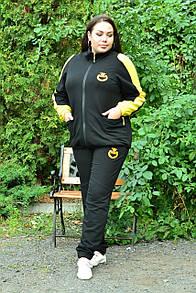 Женский спортивный костюм в больших размерах с кофтой на молнии и штанами на манжетах 10blr2084