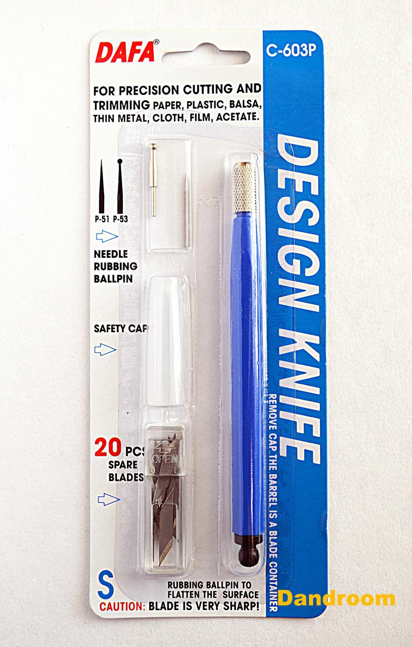 Ніж макетний З-603Р, пластикова ручка, 20 змінних лез + 2 насадки, DAFA
