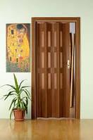 Дверь гармошка со  стеклом 503