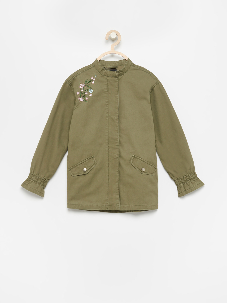 Хлопковая куртка-тракер с вышивкой комуфляжная Reserved р.134, 140, 146, 152, 158