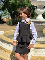 Сарафан школьный с баской на девочку, фото 1