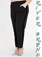 Класичні жіночі штани у великих розмірах з чорними смугами 10mbr2085