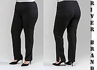 Чорні класичні брюки у великих розмірах з розрізами 10mbr2086