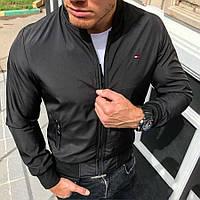 Бомбер мужской в стиле Tommy Ніlfіgеr / куртка осенняя черная
