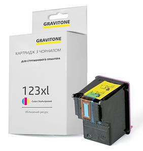 Картридж совместимый HP 123 XL Color (F6V16AE), цветной, увеличенный ресурс, 330 копий, аналог от Gravitone