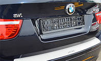 Защитная хром накладка на задний бампер (планка без загиба) BMW X6 (БМВ Х6 2008г+)