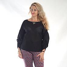 Блуза черная  кружевная , хлопок с прожегом Оригами свит шот бохо свободная Бл 047-1