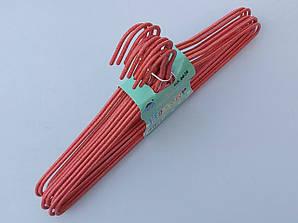 Плечики металлические проволочные в порошковой покраске красного цвета, 43,5 см,10 штук в упаковке
