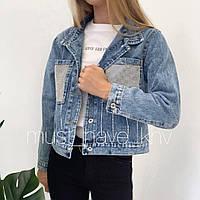 Женская куртка джинс с карманами