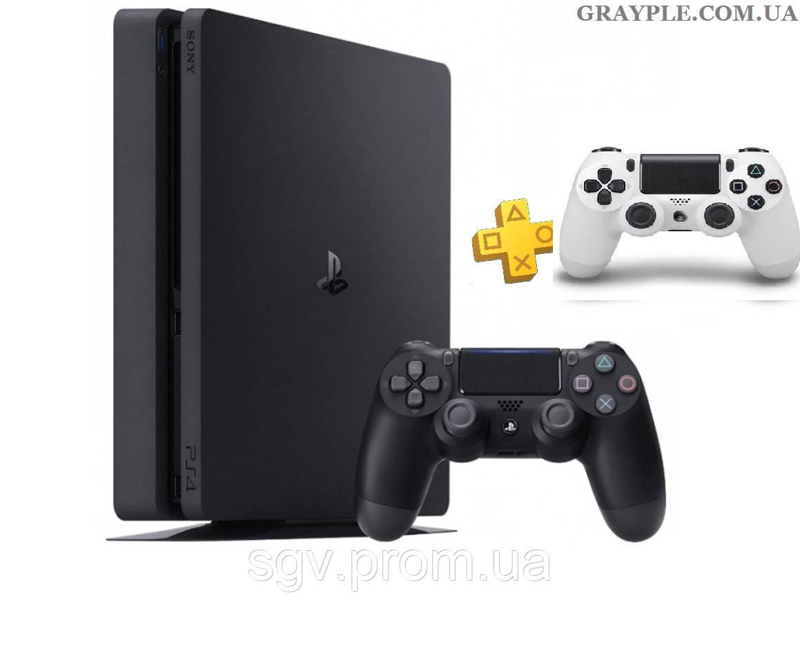 PlayStation 4 Slim 1Tb Rus Black (СUH-2208B) + геймпад White