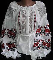 Женская кружевная вышиванка с красной вышивкой