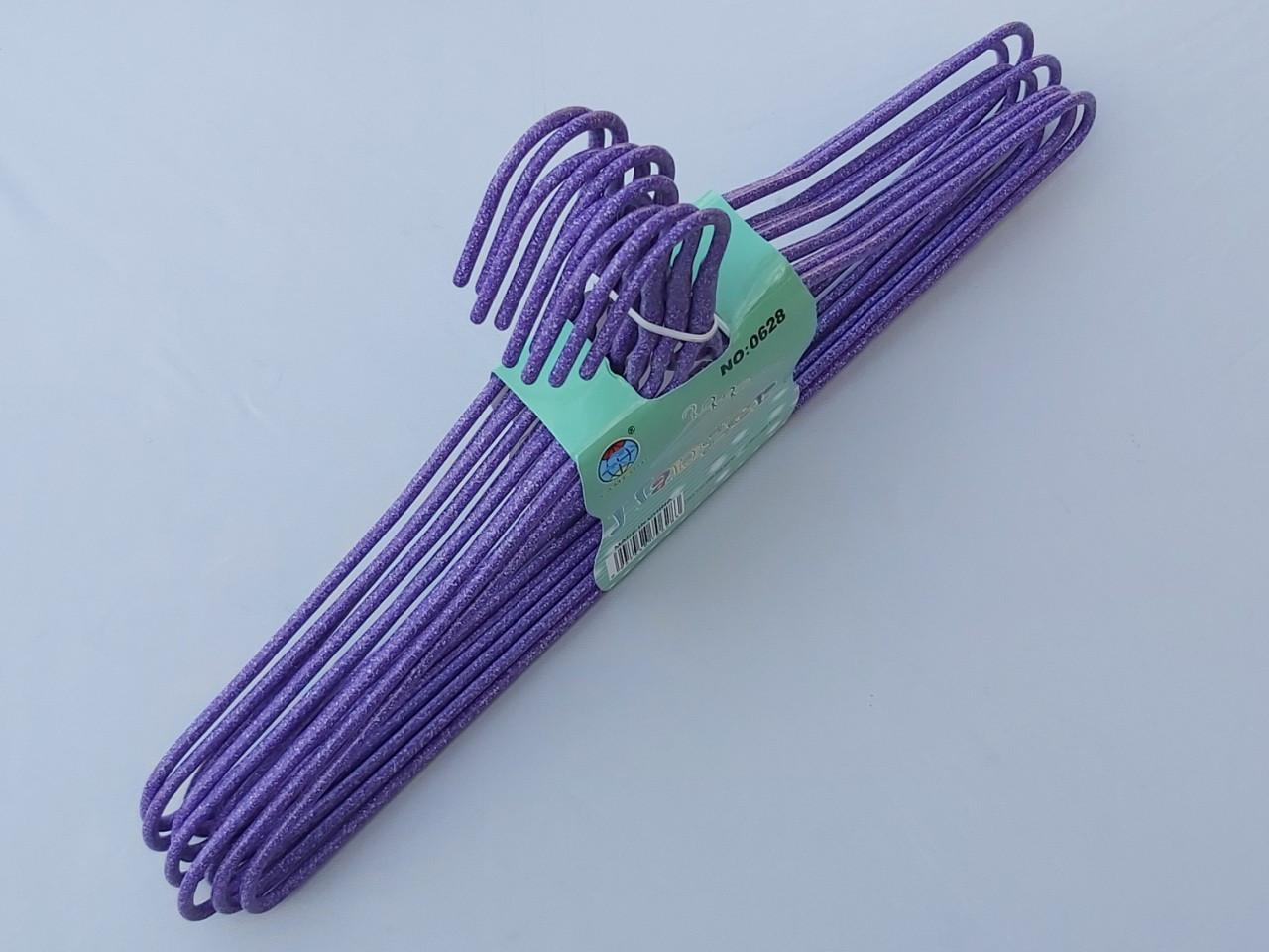 Плечики металлические проволочные в порошковой покраске фиолетового цвета, 43,5 см,10 штук в упаковке