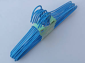 Плечики металлические проволочные в порошковой покраске голубого цвета, 43,5 см,10 штук в упаковке