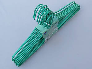 Плечики металлические проволочные в порошковой покраске зеленого цвета, 43,5 см,10 штук в упаковке