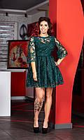 Коктейльное платье изумрудного цвета (темно-зеленое)