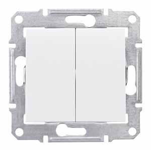 Выключатель 2- кл белый Sedna SDN0300121
