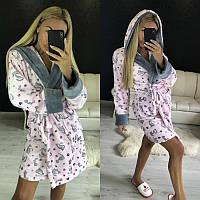 Плюшевый домашний халат с капюшоном, фото 1