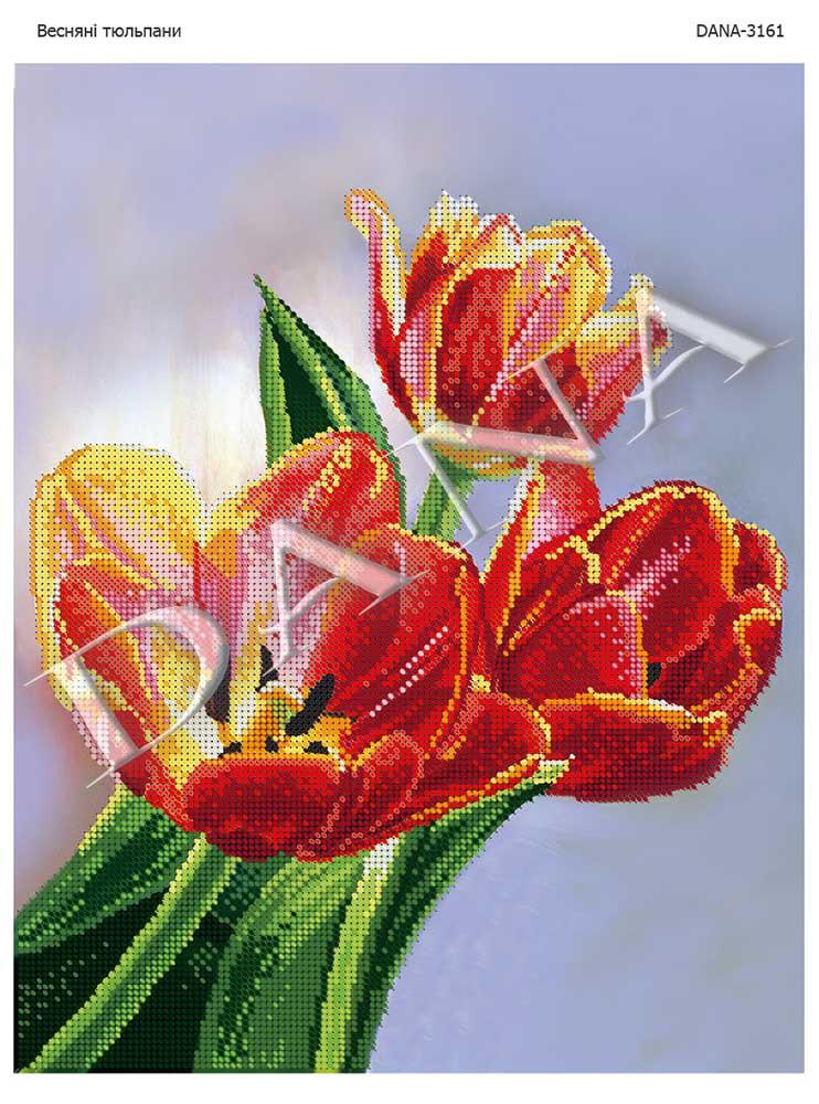 Схема для вышивки Весенние тюльпаны